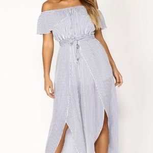 White and Blue Striped Off Shoulder Jumpsuit